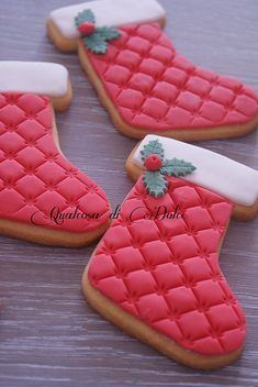 Red quilted stocking cookies | Flickr - Photo Sharing!