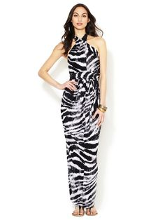 Jersey Printed Halter Maxi Dress by T-Bags Los Angeles at Gilt