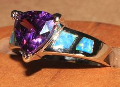 blue fire opal Amethyst ring Gemstone silver jewelry Sz 8.25 modern engagement A