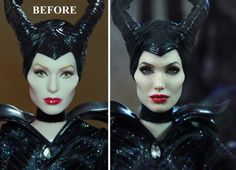 Custom repaint of a store bought doll. The artist wiped the paint off of the original, and (without any modeling) painted this incredible likeness. Amazing example of the difference between good and great paint jobs. The sense of depth on the eyes, the subtle shade on the chin and below the headdress-- great stuff. Sold for $2,250 on ebay. OOAK Angelina Jolie as Disney's Maleficent Custom Doll Repaint by Noel Cruz | eBay