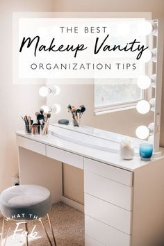 Follow this guide to the best makeup vanity organization tips! Having a clean and organized spaces equals to a happy and relaxed mind!  makeup vanity organization | makeup vanity ideas | makeup vanity organization ideas | makeup vanity organization drawers | makeup vanity organization diy | makeup vanity organization organizers  #makeupvanityorganization #makeupvanityideas #makeupvanityorganizationsideas #makeupvanityorganizationdrawers #makeupvanityorganizationdiy… Garage Organization Tips, Vanity Organization, Dorm Room Organization, Small Space Organization, Small Apartment Furniture, Diy Furniture, Apartment Hacks, Makeup Vanity Hacks, Diy Makeup