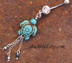 Turquoise Sea Turtle Belly Button Ring DeSIGNeR by chuckhljal, $25.00