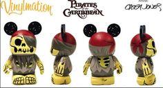 Disney Vinylmation 3'' Figure Pirates of Caribbean Helmsman Red Skeleton