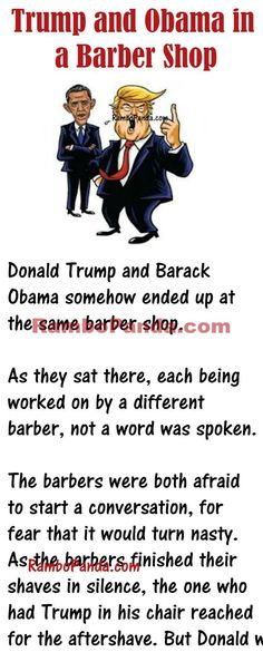 When Both Obama and Trump ended up at same Barber Shop Funny Cartoon Pictures, Cartoon Jokes, Funny Jokes, Funny Sayings, Funny Pics, Hilarious, Barber Memes, Cowboy Humor, Mr Obama