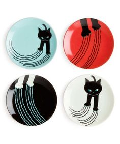 Another great find on #zulily! Red & Blue Naughty Cat Porcelain Plate - Set of Four #zulilyfinds