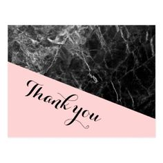 Black and Pink Marble Wedding Thank you. Postcard - wedding thank you marriage thankyou idea diy customize personalize