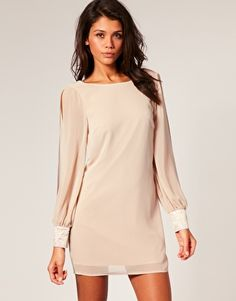 Image 1 ofLipsy Opaque Beaded Trim Low Back Shift Dress
