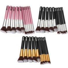 10 Pcs Kit Handle Maquiagem madeira Cosmetic Brushes Set