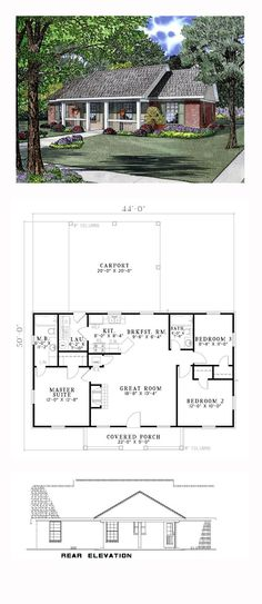 Country House Plan 62386 | Total Living Area: 1100 sq. ft., 3 bedrooms and 2 bathrooms. Features: Front Covered Porch with 8 inch columns, Great Room with fireplace, Kitchen with snack bar and access to Laundry Room, Master Suite with walkin closet and private bath, and Carport with 8 inch box columns. #countryhome