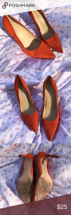 Ivanka Trump heels Deep orange suede pumps. Hardly worn. Has a few markings which are shown on the pictures. Ivanka Trump Shoes Heels
