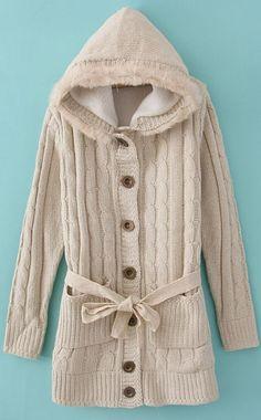 Beige Hooded Long Sleeve Drawstring Pockets Cardigan Sweater