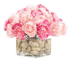 """Pink Peony Rockbed Watergarden in Large Glass Cube HEIGHT X WIDTH: 14"""" X 15"""" COLORS: pink, fuchsia"""
