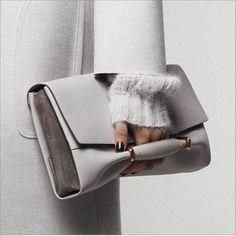 Pale grey clutch bag, chic fashion accessories // Nina Ricci Fall 2014