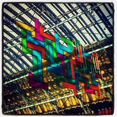 Colourful installation in St. Pancras, London