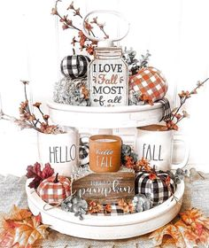 Fall Home Decor, Autumn Home, Thanksgiving Decorations, Seasonal Decor, Fall Decorations, Holiday Decor, Manualidades Halloween, Tiered Stand, Home Interior