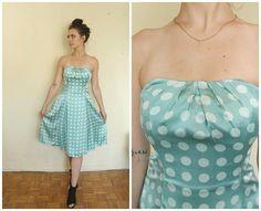 dress silk polka-dots  size XS/S medium  boho mini  romantic