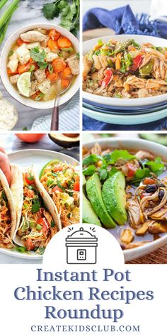 These fast and simple instant pot chicken recipes make dinner easier. You'll find everything from chicken stew, chicken spaghetti, to shredded chicken tacos along with instructions on cooking frozen chicken in the instant pot. Good Healthy Recipes, Lunch Recipes, Dinner Recipes, Easy Chicken Recipes, Seafood Recipes, Pressure Cooking Recipes, Best Instant Pot Recipe, Chicken Spaghetti, Seafood Dinner