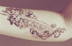 Tattoo for daughter #flowers #feather #Rowan
