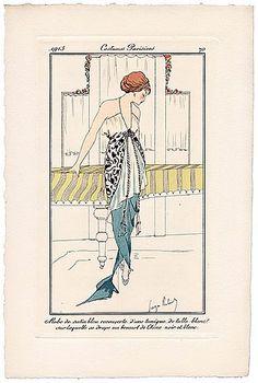 George ROBERTS 1913 Journal des Dames et des Modes Costumes Parisiens Pochoir N°70 Elegant Parisienne