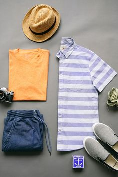 This weather calls for light layers and pastel hues. Pair a short sleeve button down with a tee and joggers for a casual weekend or spring getaway. Shop all new men's spring arrivals from Gap.