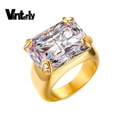 >> Click to Buy << Vinterly women New Arrival Luxury Jewelry Big Crystal Party Prong Setting AAA Cubic Zirconia Gold Color Stainless Steel Ring #Affiliate