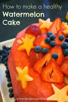 How to make a healthy watermelon cake - Laughing Kids Learn Healthy Snacks, Healthy Eating, Healthy Recipes, Fruit Recipes, Salad Recipes, Recipies, Cake Stall, Kids Allergies, Watermelon Cake