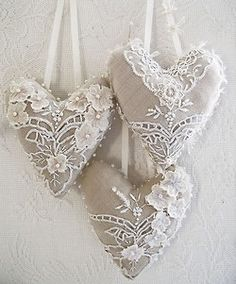 embroidered linen hearts