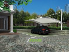 Private Car Parking Sheds - Parking Roof for Private House Villa Outdoor Garden Fabric Structure, Shade Structure, Canopy Shelter, Tensile Structures, Kerala House Design, Kerala Houses, Sound Proofing, Outdoor Living Areas, Car Parking