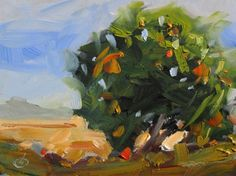 ORANGE TREE, 6x8 CALIFORNIA IMPRESSIONIST LANDSCAPE by Tom Brown, painting by artist Tom Brown