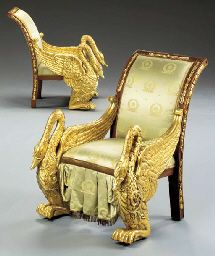 A PAIR OF RUSSIAN NEOCLASSIC MAHOGANY AND PARCEL-GILT BERGER