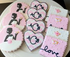 Bridal Shower Tea Party Custom Decorated Cookies, heart, silhouette, teacup, teapot.