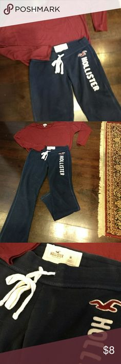 "Fall Walking Outfit The long sleeved maroon cotton top is a size Large by Old Navy.  Length is24 1 /2"".  The Navy sweatpants are from Hollister in size Medium.  Both perfect condition🤣🤣 Hollister/Old Navy Other"