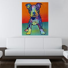 On My Own Pit Bull Puppy Wall Sticker Decal - Animal Pop Art by Dean Russo