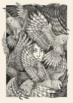 Owls and girl Pinned by www.myowlbarn.com