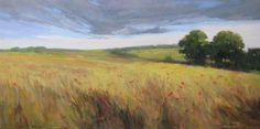 """Poppy Panorama"" 12x24 oil on canvas."