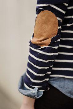 """Les coudières en daim, ou comment conférer un petit plus """"vintage"""" à ses pulls et autres chemises en jean"""