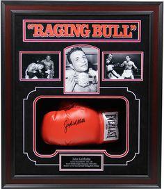 Jake LaMotta Signed Boxing Glove Framed Shadowbox (20x24)