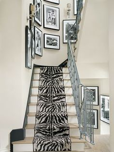 zebra rug on stairs  black and white  decor so chic!