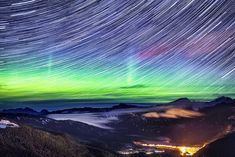 Long Exposure...Northern lights over the Rocky Mountains in Canada