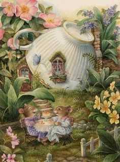 Mousies and a tea cup cottage from the gentle woodland world of 'Holly Pond Hill' from Susan Wheeler. She is an American illustrator as well as an author of both children's and young adult books...Good Sunday Morning to you...