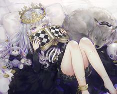 Anime Original  Cão Livro White Hair Esqueleto Dress Purple Eyes Long Hair Skull Papel de Parede