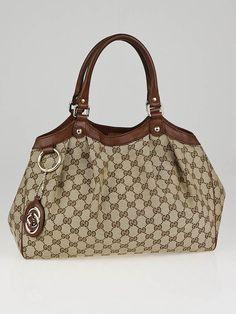 Gucci Beige/Brown GG Canvas Sukey Medium Tote Bag