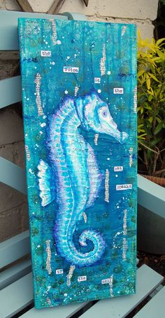 Seahorse Mixed Media Canvas by Michelle Webb