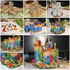 DIY Coral Reef Pencil Holder from Toilet Paper Rolls  https://www.facebook.com/icreativeideas