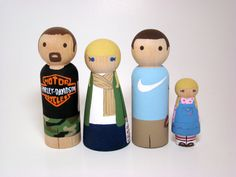 Large Wooden Peg Doll Family of 4- Personalized Custom Hand Painted Wood Peg Family Dolls on Etsy, $73.34
