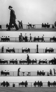 Acik Radyo Music of the People poster with Coney Island Boardwalk Montage, 1950 © Harold Feinstein an interesting poster that resembles a sheet of music through photographic imagery Coney Island, Photomontage, Poesia Visual, Plakat Design, Partition, Print Ads, Belle Photo, Black And White Photography, Istanbul