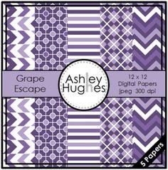 Grape Escape {12x12 Digital Papers for Commercial Use} - Ashley Hughes - TeachersPayTeachers.com