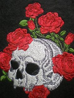 Large Embroidered Sugar  Skull and Roses Iron-On Patch, Sew On , Skeleton, Day of the Dead, Gothic, Biker Patch, Lovers Patch by ElsieMichelleDesigns on Etsy https://www.etsy.com/listing/127191624/large-embroidered-sugar-skull-and-roses