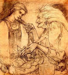 Baba Yaga and Vasilisa the Beautiful. Baba Yaga scared me to death when I was a child. Baba Yaga, Fairy Tale Forest, Fairy Tales, Illustrations, Illustration Art, Art Magique, Maleficarum, Mystique, Russian Folk