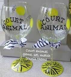 Tennis theme wine glasses by beceramics on Etsy, $18.00